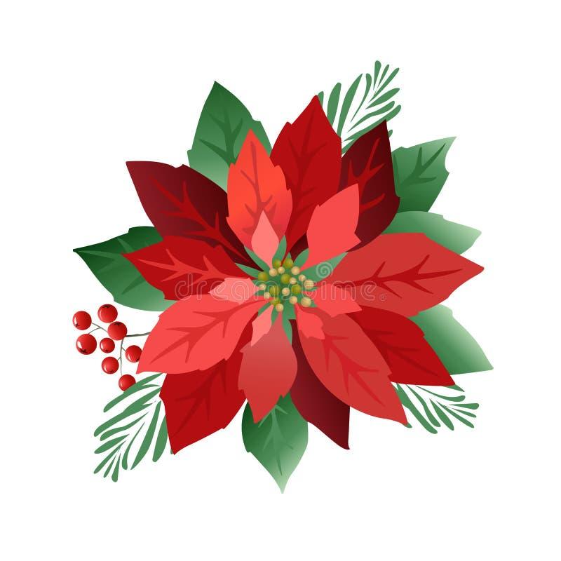 Flores da poinsétia do Natal, folhas do vermelho Tampa, convite, bandeira, cartão Ilustração do vetor ilustração do vetor