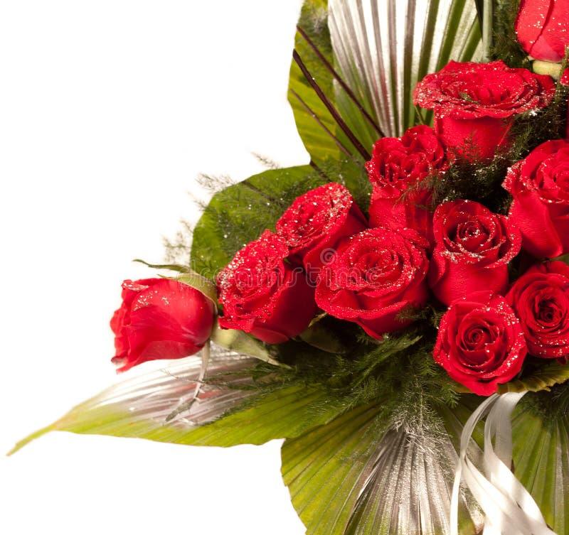 Flores da rosa do vermelho com partículas da faísca fotografia de stock