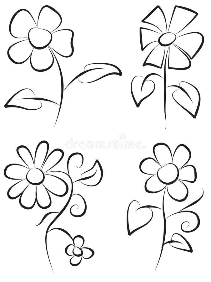 Flores da tração da mão fotografia de stock royalty free