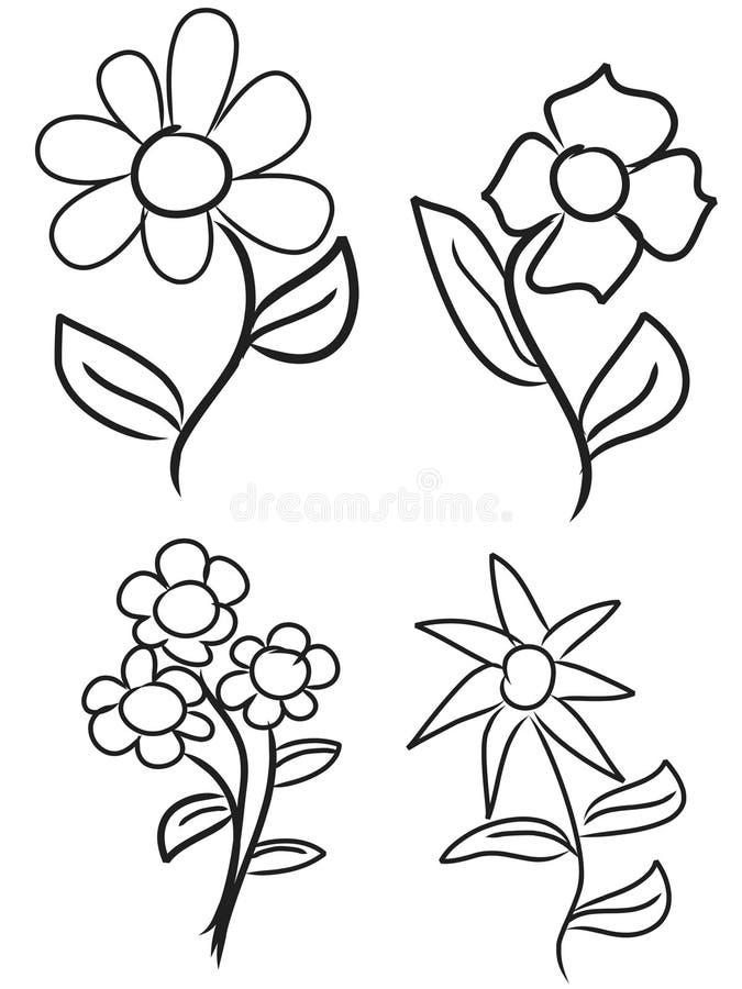 Flores da tração da mão fotos de stock