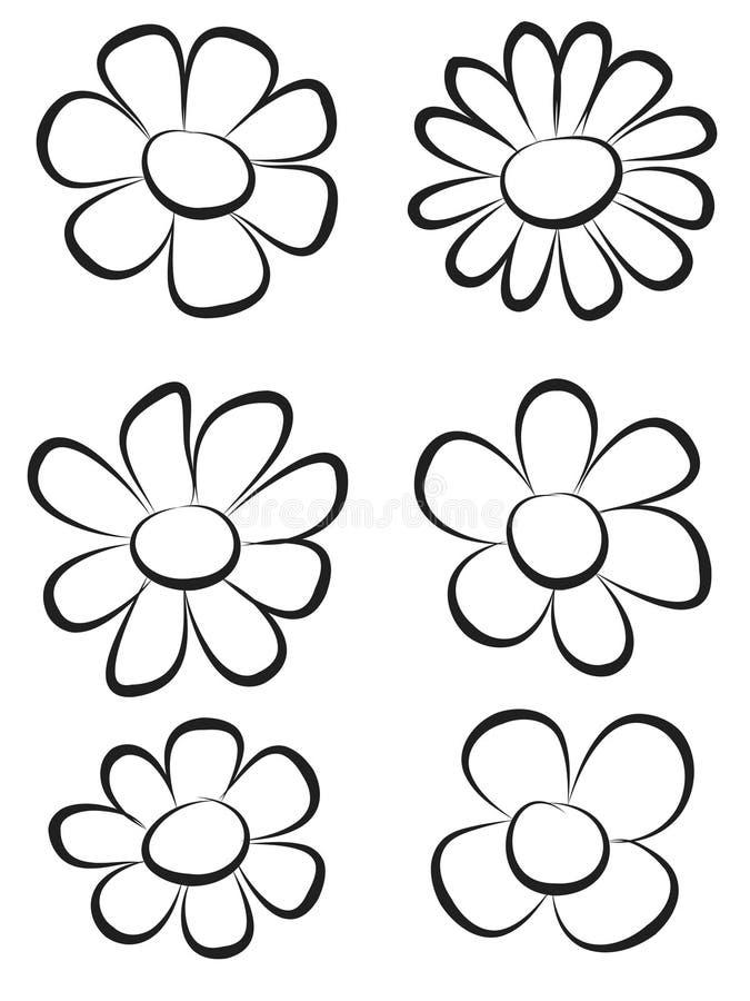 Flores da tração da mão imagens de stock