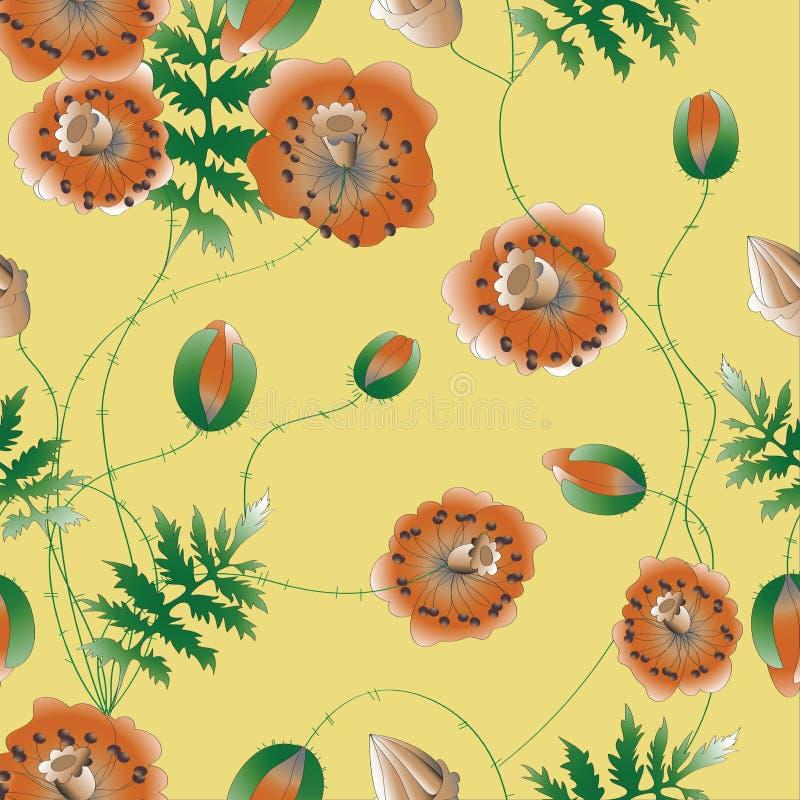 Flores das papoilas do teste padrão Ilustração do vetor ilustração do vetor