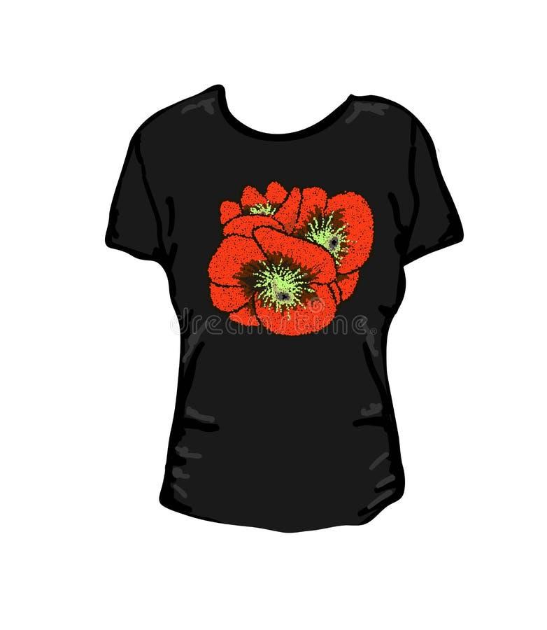 Flores das papoilas das imagens Ilustração para mulheres, os t-shirt das meninas Ilustração do vetor T gráfico ilustração do vetor