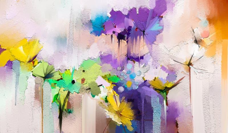 Flores das pinturas da arte moderna com cor amarela, vermelha ilustração royalty free