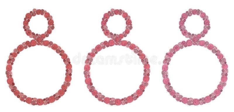 Flores das rosas do dia das mulheres internacionais do cartão pintadas com pena preta e a aquarela cor-de-rosa vermelha isoladas, ilustração royalty free