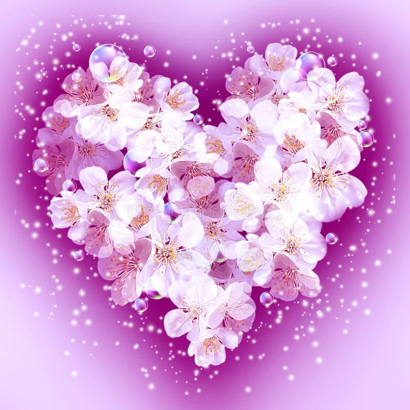Flores de Apple na forma do coração ilustração do vetor