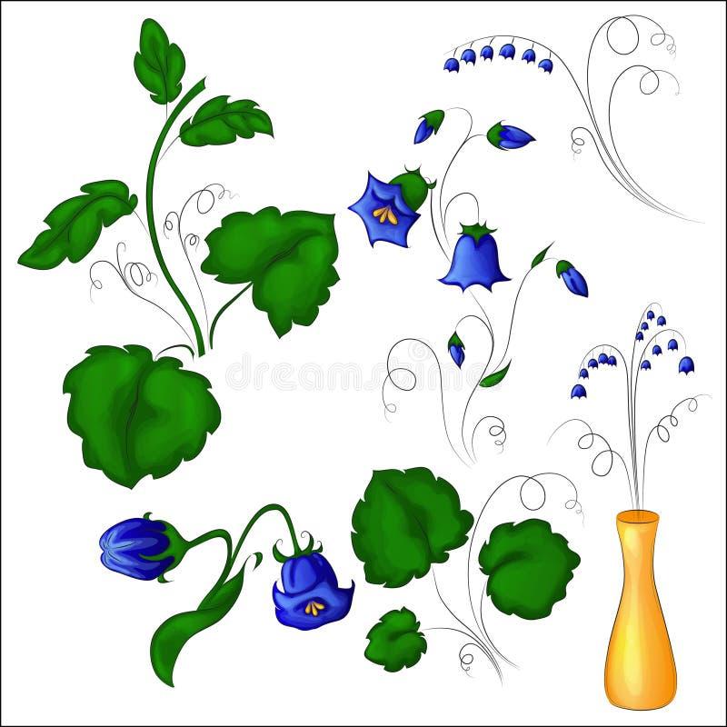 Flores de Bell com folhas foto de stock