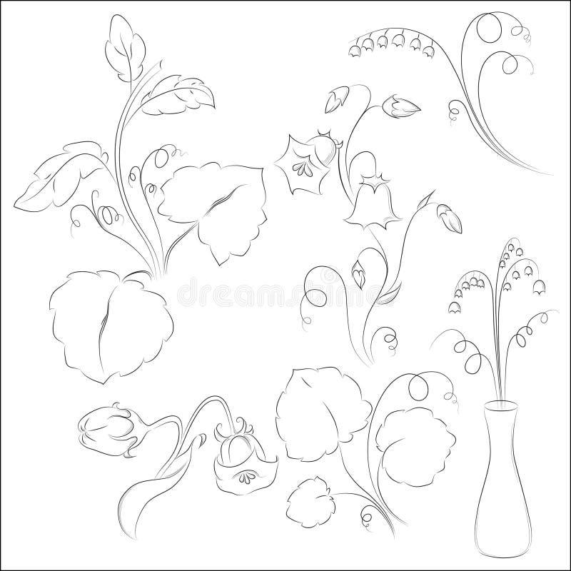 Flores de Bell com linha arte das folhas imagens de stock