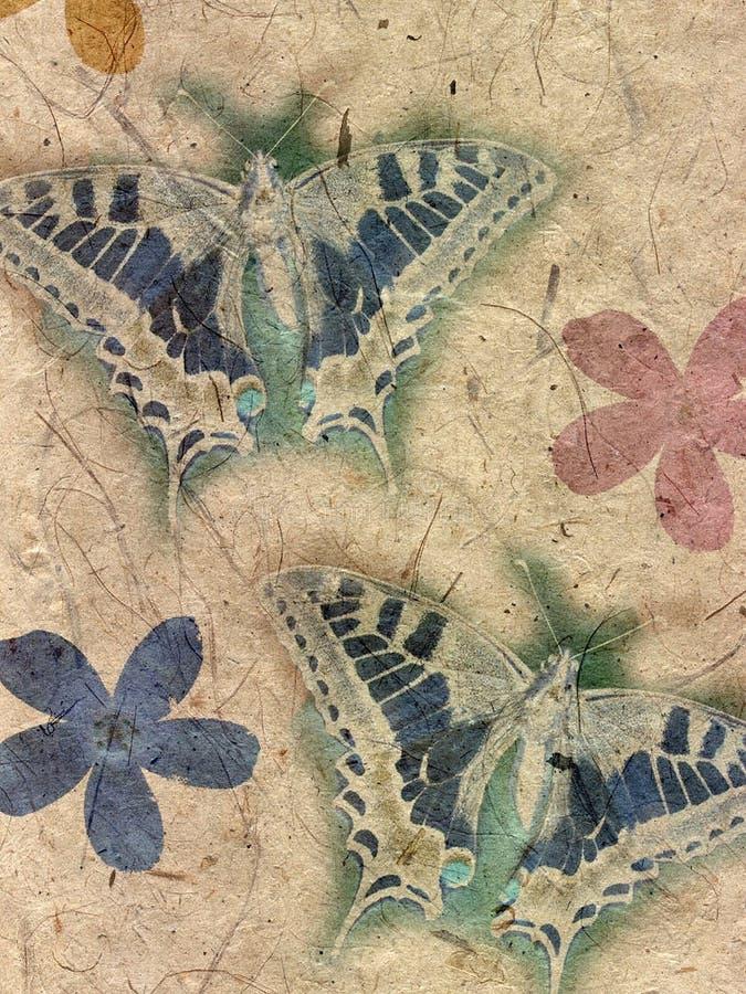 Flores de borboletas no papel ilustração royalty free