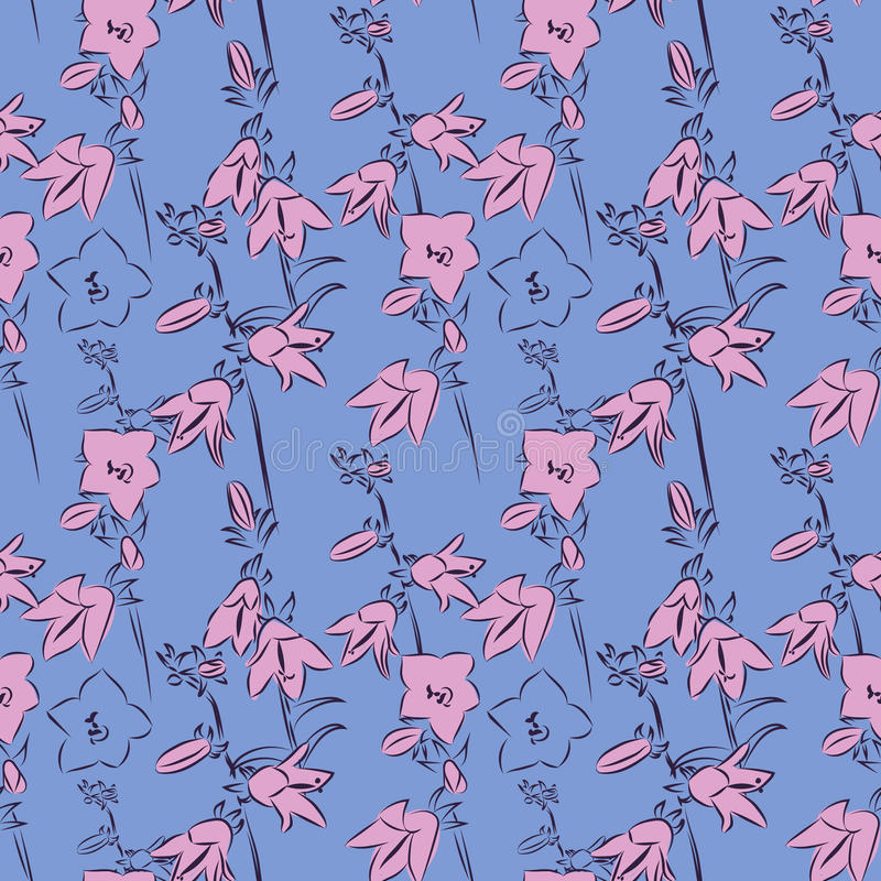 Flores de campana hermosas en el fondo azul, ejemplo del vector, modelo inconsútil stock de ilustración