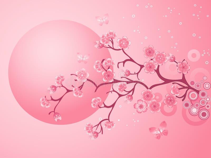 Flores de cereja cor-de-rosa Sakura ilustração stock