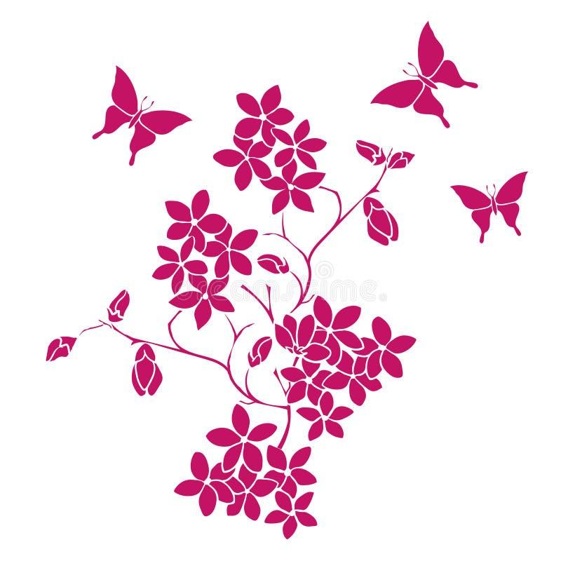 Flores de cerejeira e borboletas do galho ilustração do vetor