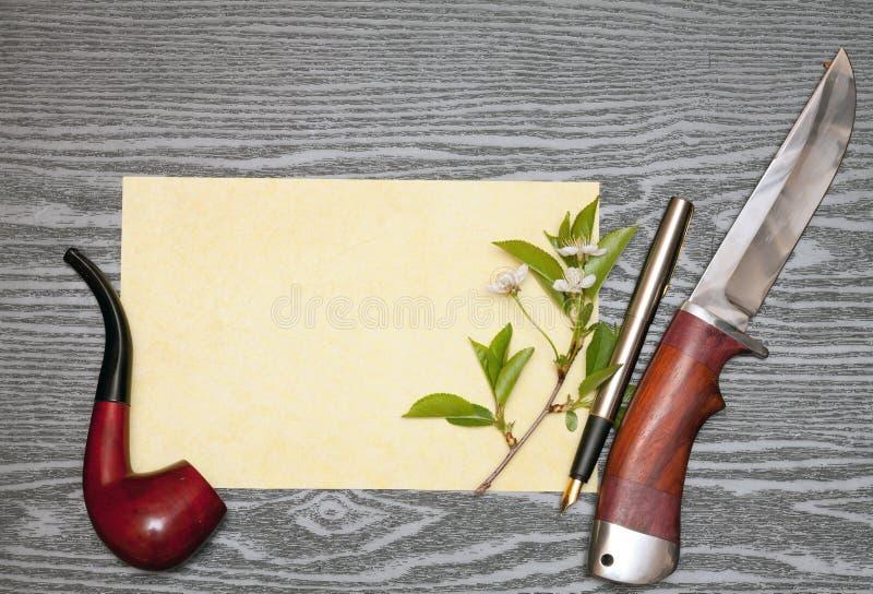 Flores de cerejeira e papel fotos de stock royalty free