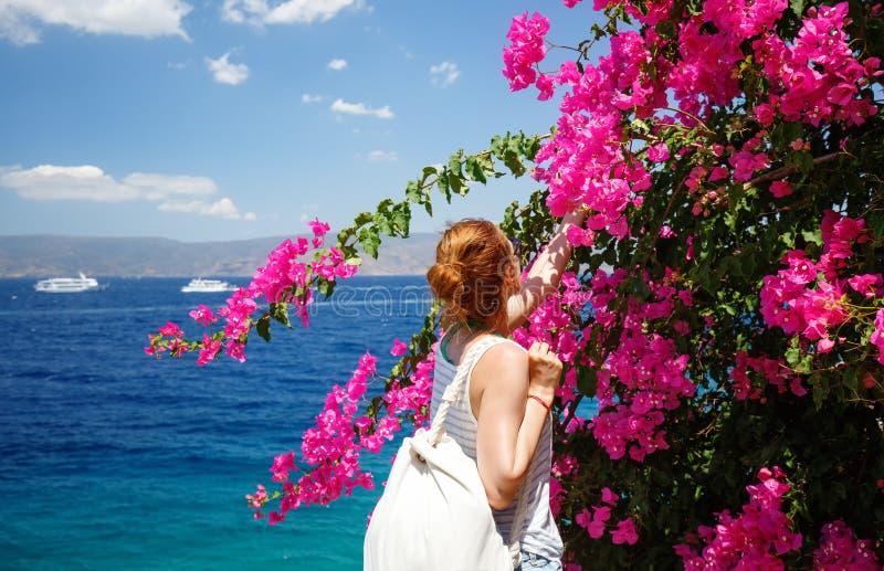 Flores de cheiro da jovem mulher na ilha do Hydra, Grécia mediterranean C?u azul fotos de stock royalty free