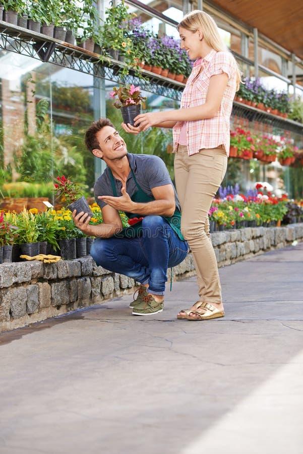Flores de compra da mulher no Garden Center imagem de stock
