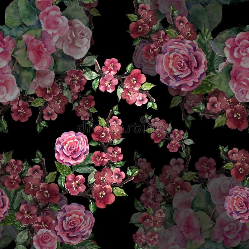 Flores de festão da aquarela com sakura Teste padrão sem emenda floral em um fundo preto ilustração royalty free