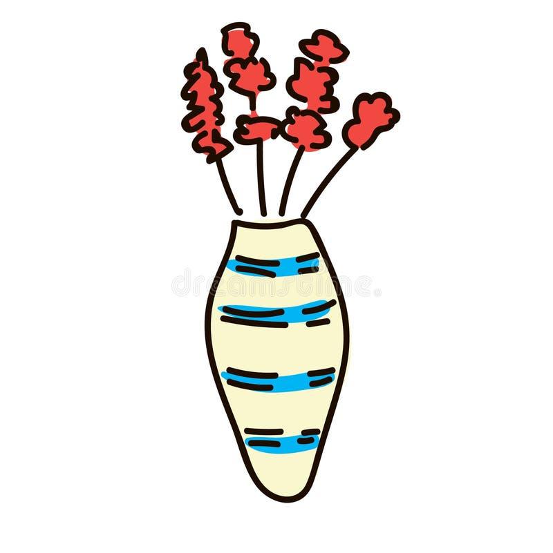 Flores de Gerber del ramo en florero rayado moderno estilo simple de la pluma del bosquejo icónico plano libre illustration