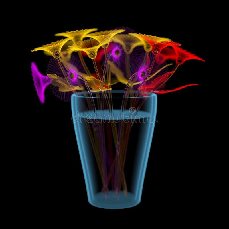 Flores de Gerber en un cubo (transparentes multicolores y azules de la radiografía 3D) ilustración del vector