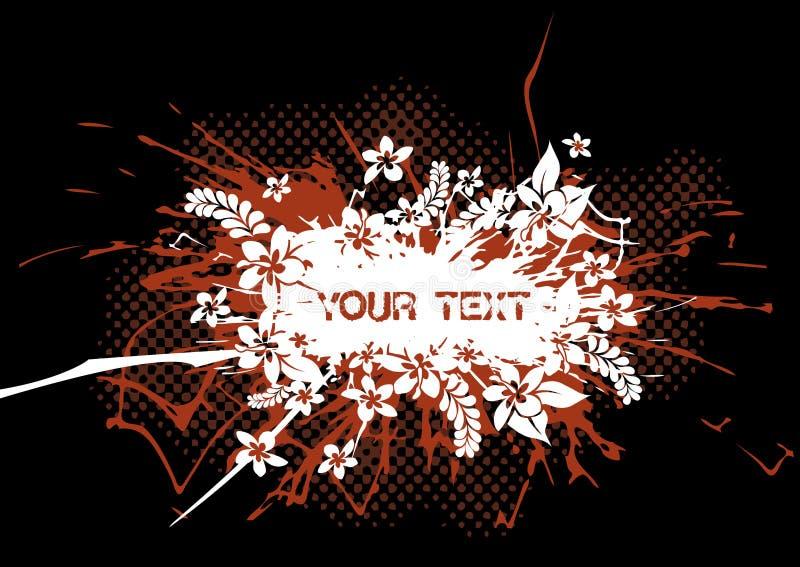 Flores de Grunge no respingo vermelho. ilustração do vetor