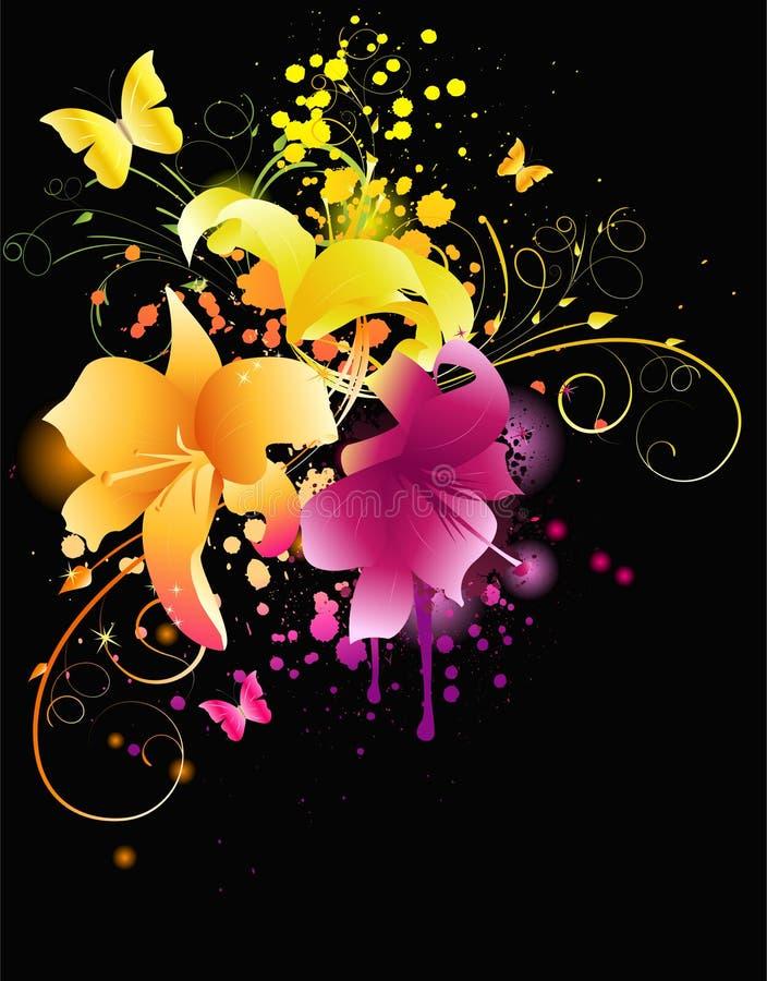 Flores de incandescência do lírio ilustração royalty free