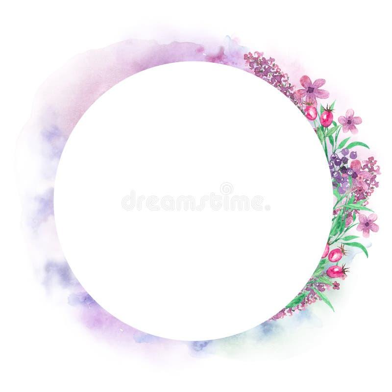 Flores de la acuarela Composición floral, lugar para el texto, marco Diseñe el elemento para la tarjeta, cubierta de libro, ahorr stock de ilustración