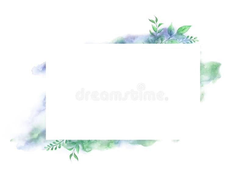 Flores de la acuarela Composición floral, lugar para el texto, marco Diseñe el elemento para la tarjeta, cubierta de libro, ahorr libre illustration