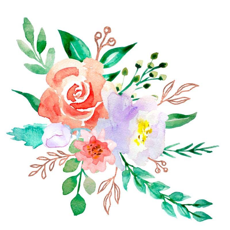 Flores de la acuarela ejemplo, hoja y brotes florales Composici?n bot?nica para la tarjeta el casarse o de felicitaci?n rosas de  foto de archivo libre de regalías