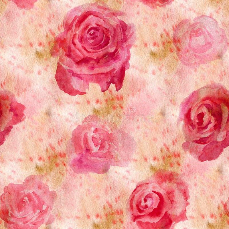 Flores de la acuarela rosas stock de ilustración