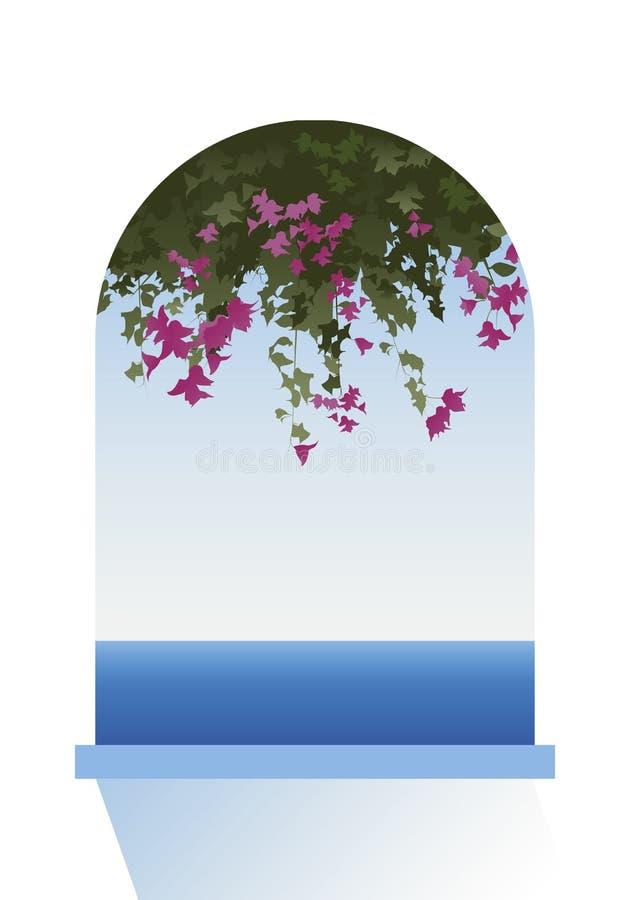 Flores de la buganvilla Opinión del mar a través de una ventana stock de ilustración