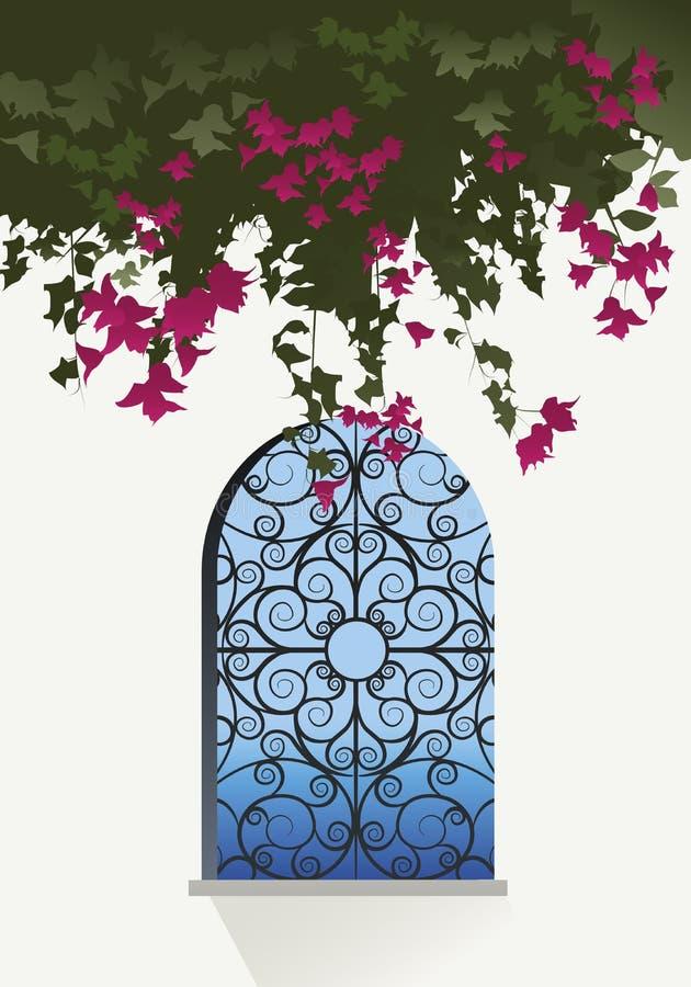 Flores de la buganvilla Opinión del mar a través de una ventana libre illustration