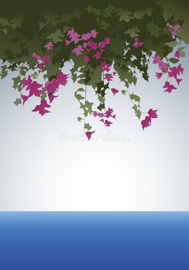 Flores de la buganvilla Vista al mar stock de ilustración