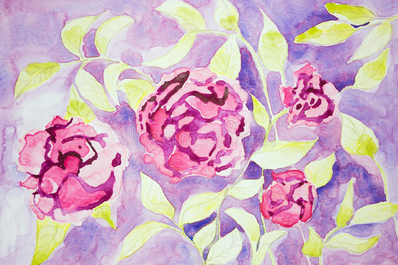 Flores de la fantasía de Rose en un fondo de la lila stock de ilustración