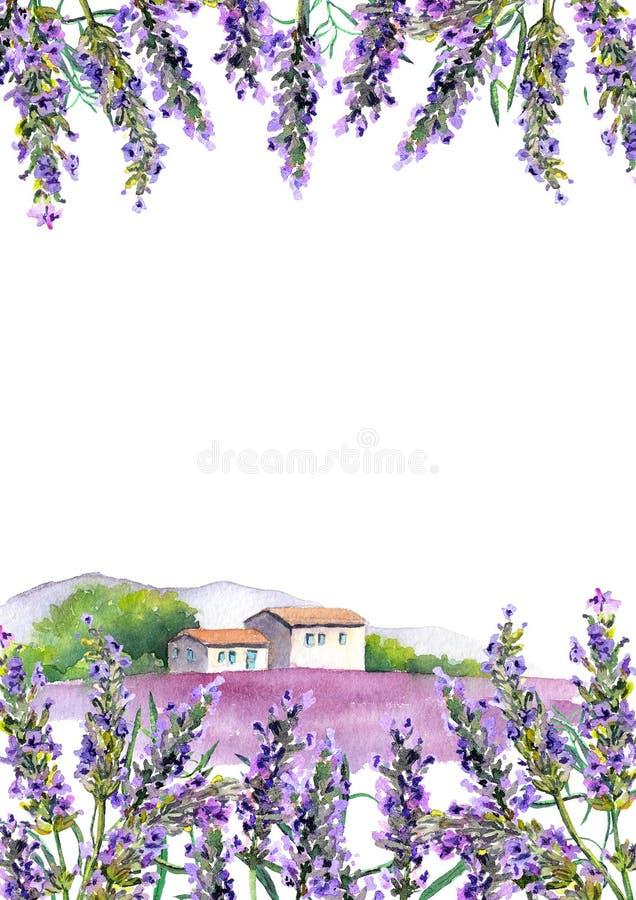 Flores de la lavanda y cortijo rural Tarjeta de la acuarela ilustración del vector