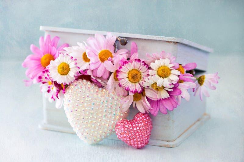 Flores de la manzanilla en una caja foto de archivo