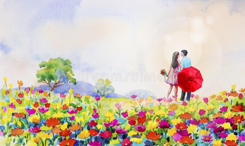 Flores de la margarita del paisaje de la acuarela de la pintura en jardín libre illustration