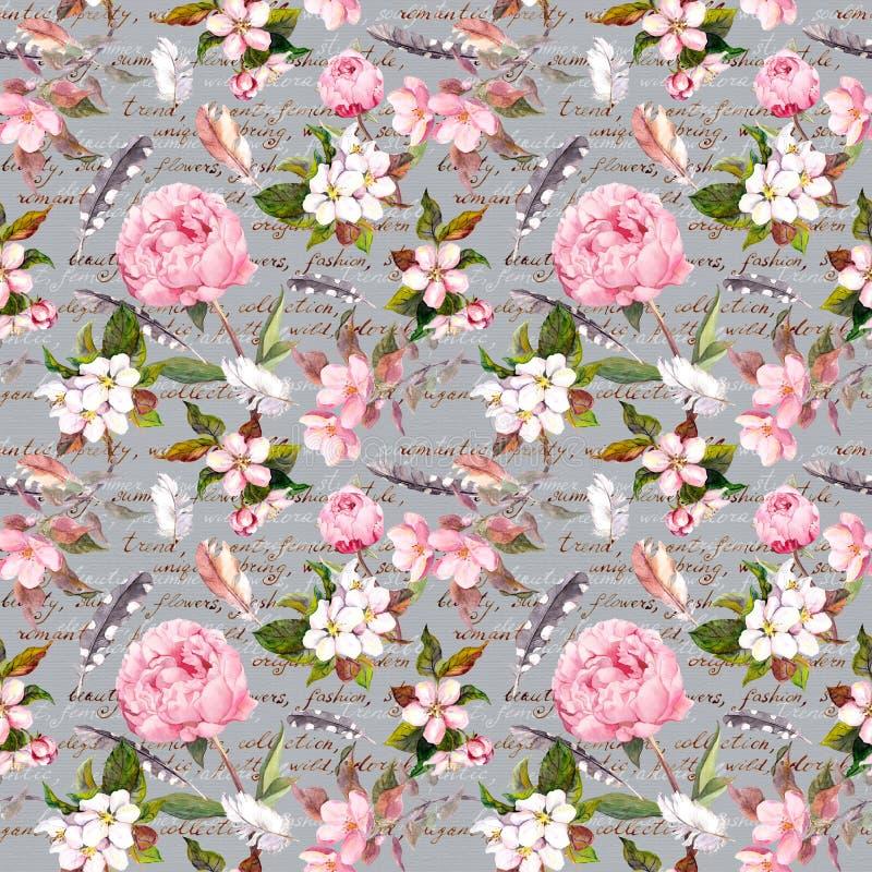 Flores de la peonía, Sakura, plumas Estampado de flores inconsútil del vintage con la letra escrita mano watercolor ilustración del vector