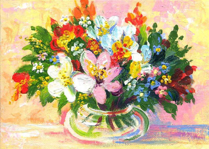 Flores de la pintura al óleo fotos de archivo libres de regalías