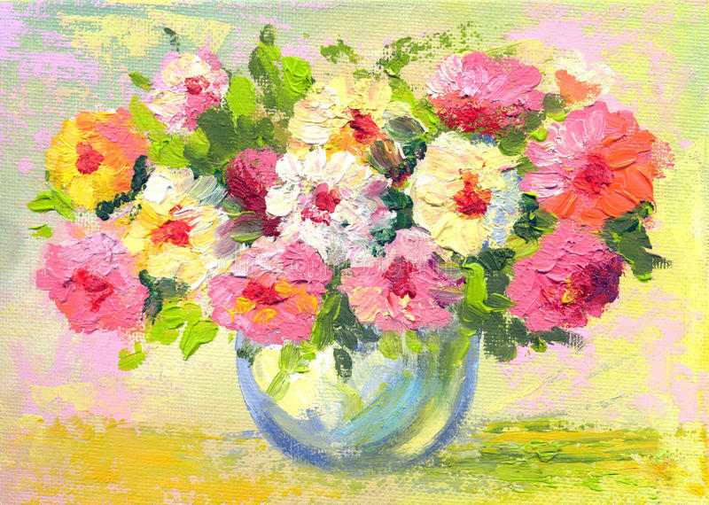 Flores de la pintura al óleo foto de archivo libre de regalías