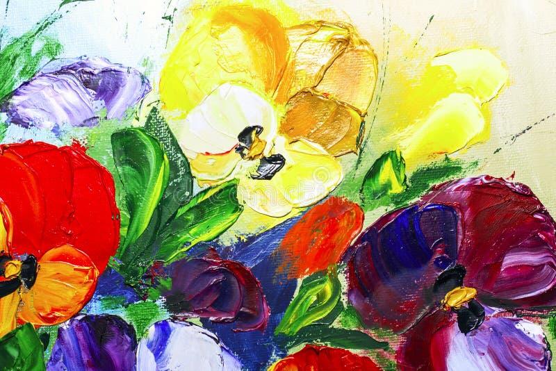 Flores de la pintura al óleo de la textura, flores vivas de pintura ilustración del vector