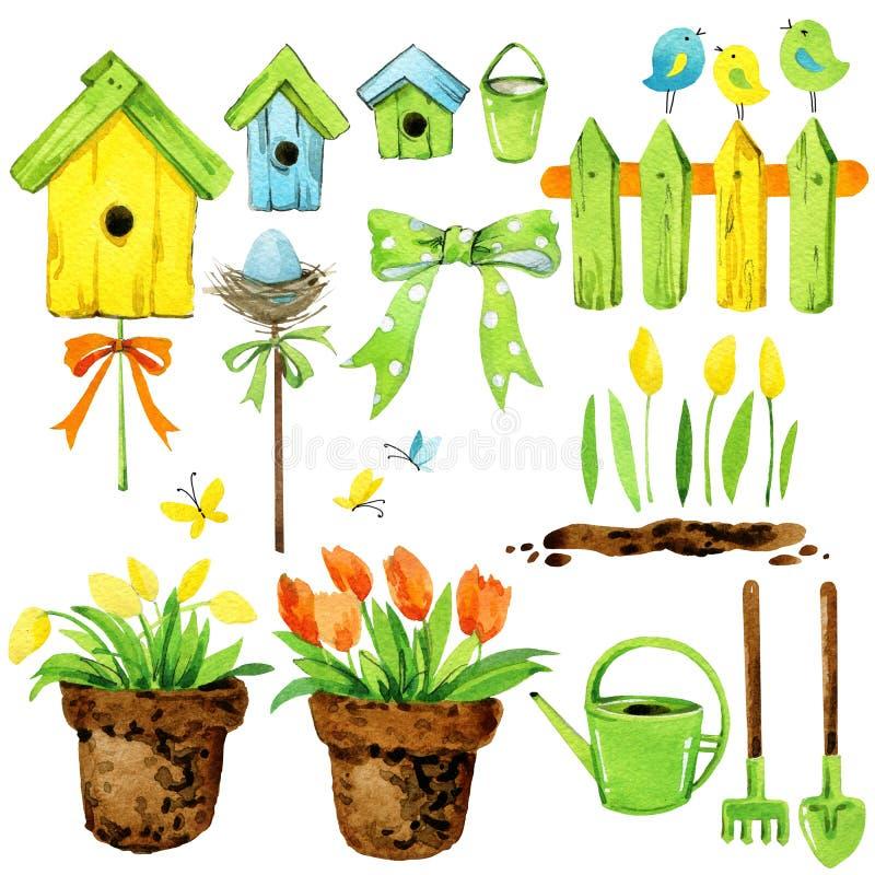 Flores de la primavera, decoración del jardín, casa del pájaro, y pájaros conjunto de la acuarela stock de ilustración