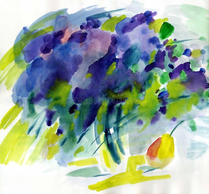 Flores de la primavera de la lila de la pintura de la acuarela ilustración del vector