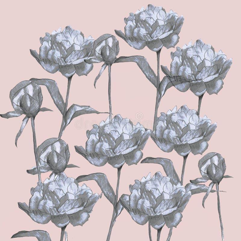 Flores de la primavera que dibujan con línea-arte en fondos púrpuras stock de ilustración