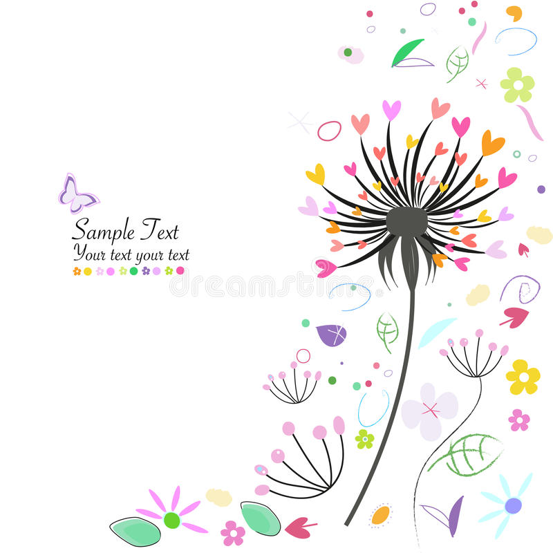 Flores de la primavera y tarjeta de felicitación abstractas del diente de león ilustración del vector