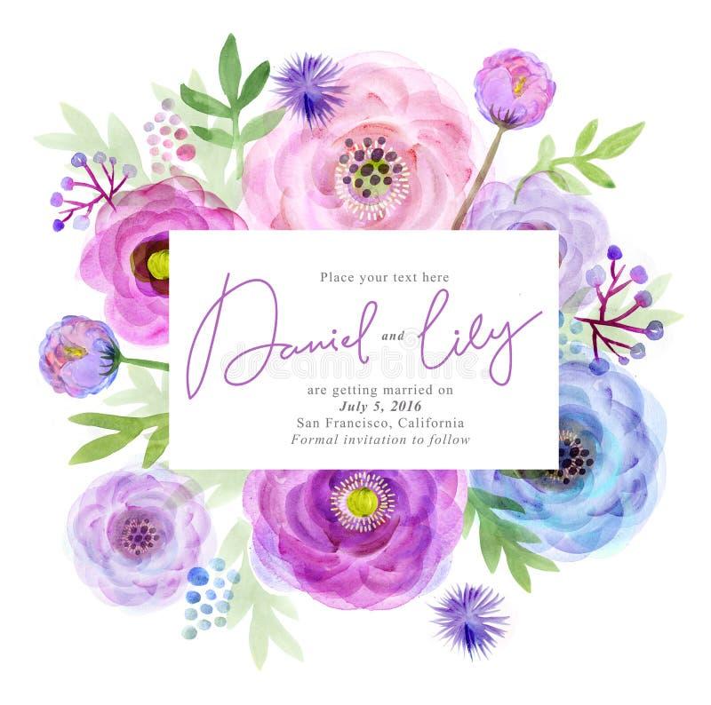 Flores de la tarjeta de felicitación de la acuarela handmade Fondo de la enhorabuena Tarjeta de las flores ilustración del vector