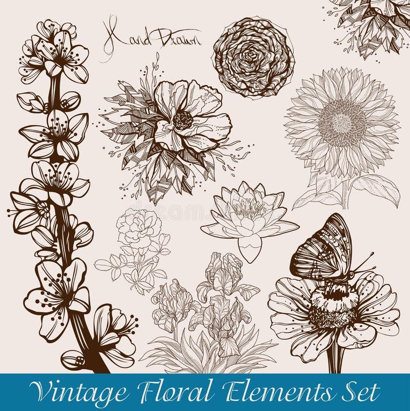 Flores de la vendimia fijadas ilustración del vector