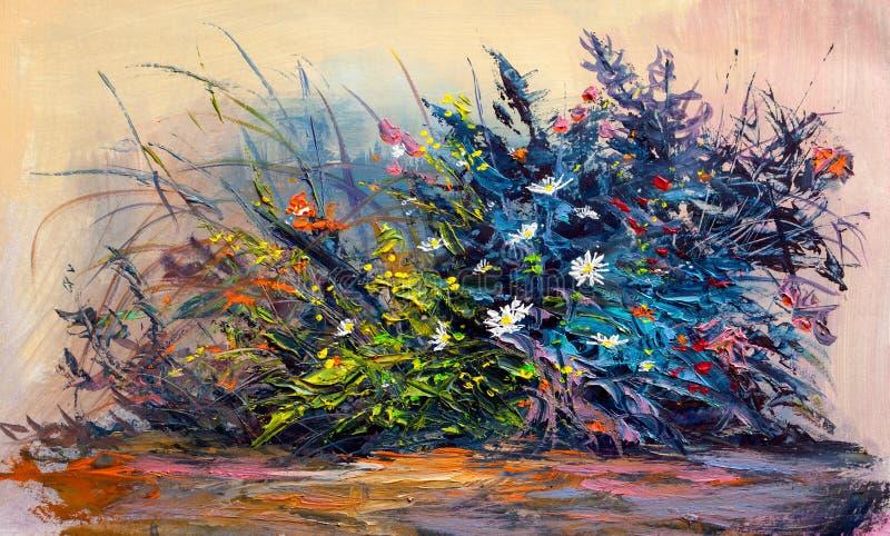 Flores de las margaritas de la pintura al óleo en el jardín ilustración del vector