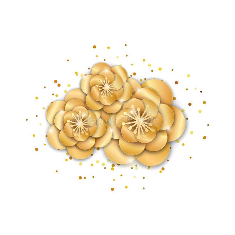 Flores de loto del oro ilustración del vector