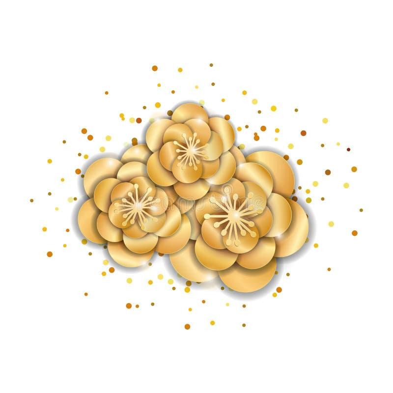 Flores de loto del oro stock de ilustración