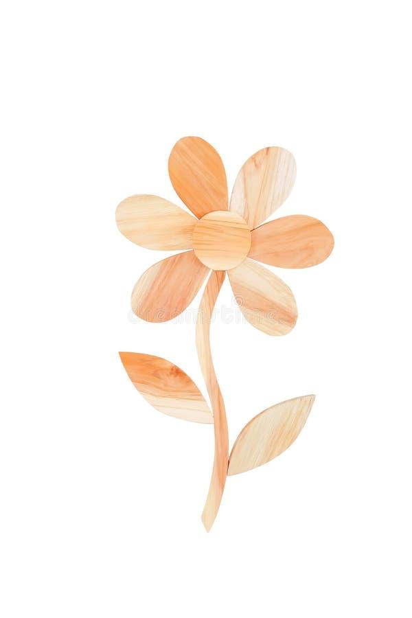 Flores de madera de la decoración con los modelos de la naturaleza de la hoja aislados en el fondo blanco con la trayectoria de r foto de archivo