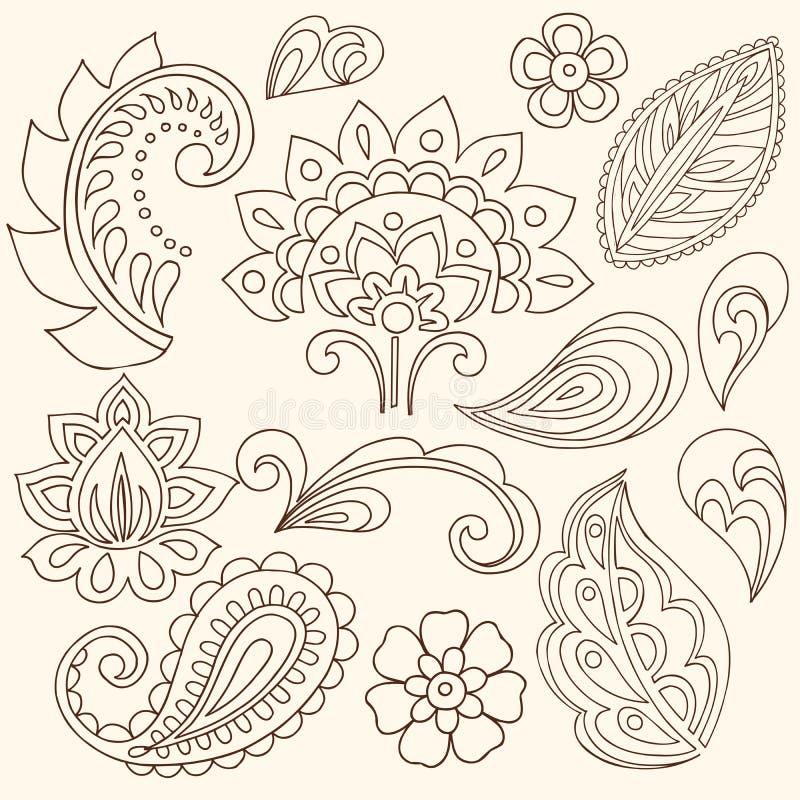 Flores de Mehndi do Henna e vetor de Paisley ilustração royalty free